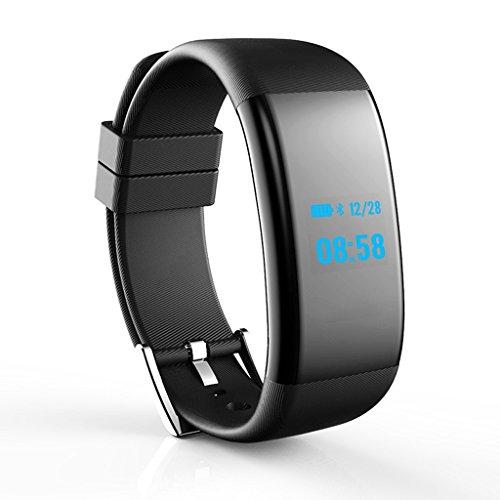 Lily GPS Running Watch mit Elevate Wrist Herzfrequenz und Smart Notifications, Fitness Tracker Pulsmesser Wireless Smart Armband Tracker Pedometer Smartwatch (Color : Black)