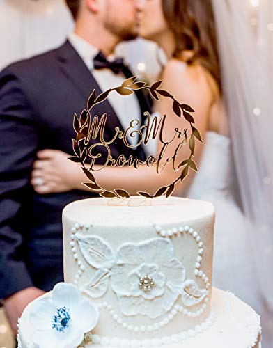 Cake Topper Gold Wedding Names Personalized Laurel Wreath in Gold Glitter or Rustic Chic Wedding Cake Topper Wreath (Gold Wedding Cake Topper)