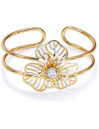 Peora 18K Gold Plated Bold Floral Pearl Cuff Bracelet For Women And Girls