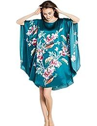 Prettystern - 100% pura seta raso crepe kimono pigiama camicia da notte  lingerie lusso stampa 40639f5891c