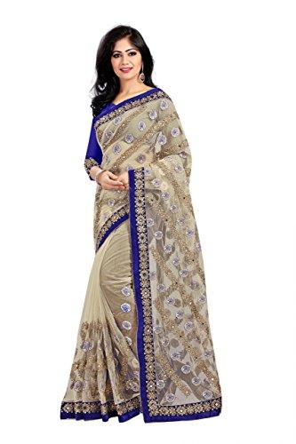Rewa Enterprise Net Sarees | Party Wear Sarees | Sarees with Blouse Piece | Colour - Biege