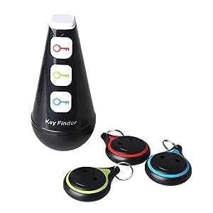 """Magicfly® """"Poussah"""" Porte Clés Siffleur Key Finder Localisateur d'objets Sonore (clés, portefeuilles...) - 1 emetteur + 3 récepteurs"""