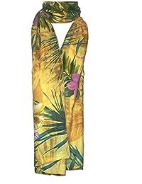 KARRMAZ 100% Natural Bamboo Cotton Scarf Floral Print Yellow Color Scarf, Stole, Dupatta