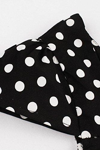 Robe Femme Vintage année 1950s Swing Irrégulière Noire à Pois Manche Courte Col Bateau en Coton par MisShow Blanc