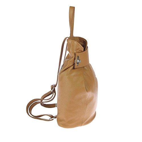 italyshop24_com, Borsa a zainetto donna rosso Bordeaux ca.: 28x33x14 cm (BxHxT) Cognac