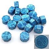 100 perline ottagonali in ceralacca, timbro decorativo a forma di tavoletta granulosa Taglia libera blu cielo