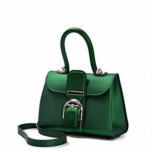 Preisvergleich Produktbild Leichte Luxus-Schnalle Matt Matte Gelee Tasche Mode Handtasche Schulter Messenger Tasche Satteltasche , olivgrün schwarz