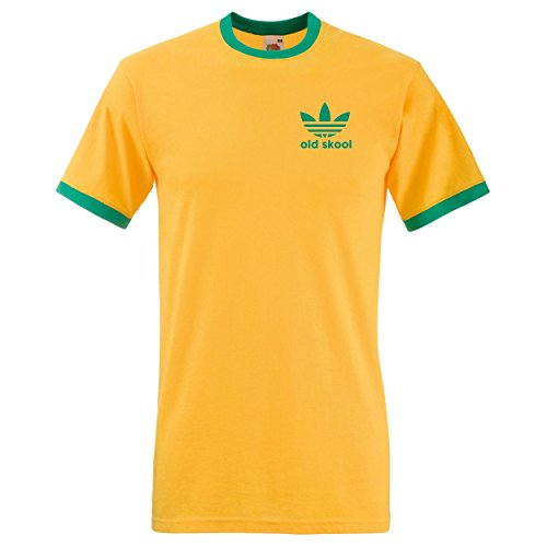 Old Skool Ringer T-shirt, yellow and green - other colours available