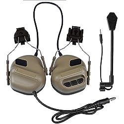 GODNECE Écouteur Tactique, WST Gen.5 Earmuffs Casque Écouteur Casque Tactique Militaire Airsoft avec Microphone (Tan)