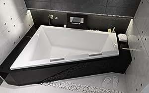 Baignoire rectangulaire en acrylique eckbadewanne rIHO doppio 180 x 130 cm à droite avec 2 poignées et pieds chromé