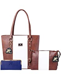 Speed X Fashion Women's Handbag And Sling Bag With Hand Clutch Combo Of 3 Pics (N00STY-Brown,White)
