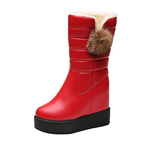 Dragon868 stivali donna con pelliccia doposci con pelliccia scarpe a zeppa 4cm zeppa interna 6.5cm scarpe tacchi alti 10.5cm con pelliccia palla di pelo decorativo