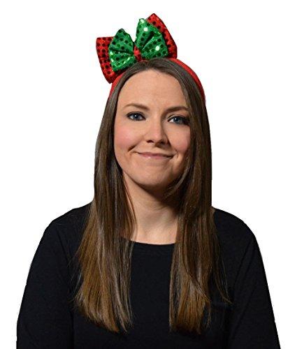 Unisex Christmas Accessories Costume Headband Elf Santa All Mix & Match (Sequin Bow Headband, OneSize) Sequin Bow Headband