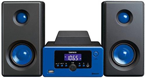Lenco Stereoanlage MC-020 Kompaktanlage  mit Bluetooth, USB und UKW-Radio (Weckfunktion, USB-Lader, Aux, Kopfhörerbuchse) 2 x 5 Watt (RMS), Blau -