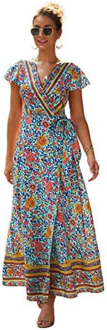 SheIn Women's Tribal Print Wrap V Neck Split Wrap Maxi D