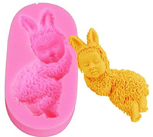 Inception Pro Infinite SA028 - Stampo in Silicone per Uso Alimentare di Un Bambino Vestito da Coniglio 2D - Pasta di Zucchero - Fondenti - Torte - Pancake - Muffin - Decorazioni