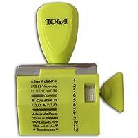 Toga Tampon à Messages avec 12 Expressions Vacances, Plastique, Vert Anis, 9,5 x 14,5 x 3 cm