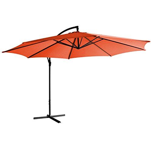 Jalano Sonnenschirm freischwebend in 7 Farben Ampelschirm 350 cm Durchmesser, Gartenschirm inkl. Schutzhülle und Fusskreuz - höhenverstellbarer Kurbelschirm (Orange)