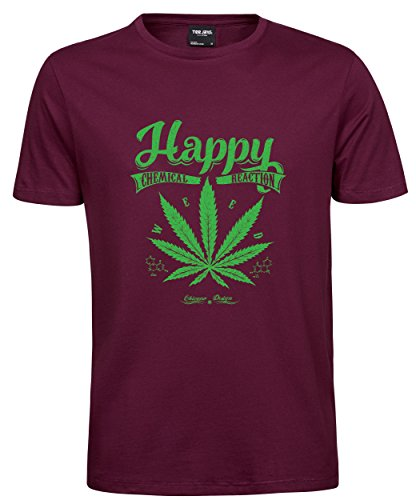makato Herren T-Shirt Luxury Tee Happy Weed Wine