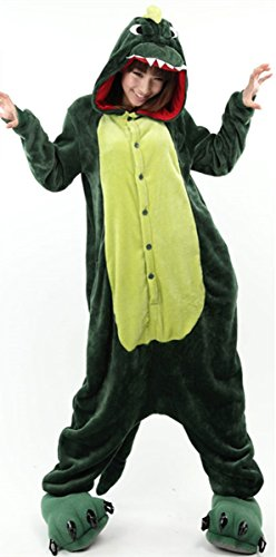 Image of New Women's Adult Pajamas Ladies Unisex Fleece Animal Onesies Kigurumi Novelty Pyjamas Nightwear Costumes Halloween(Dinosaur,Large)