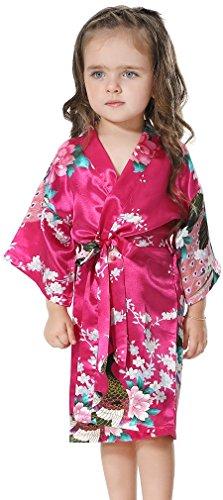 FLYCHEN Girl's Satin Kimono Bathrobes Sleepwear for Kids Wedding Dress Gown Rose Red 10