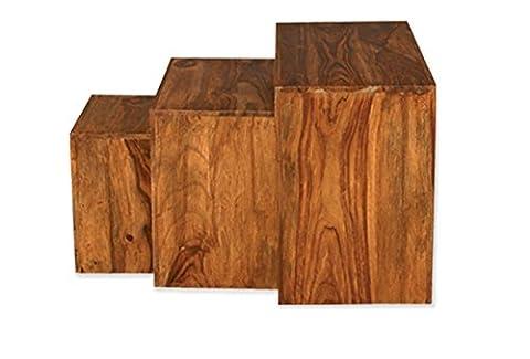 Cube Petite Indian Sheesham Wood Nest Of Tables (Oak Lands