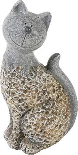 Home Collection Lustige sitzende Katze Garten Deko im Stein Look 20x11x13,5cm Keramik