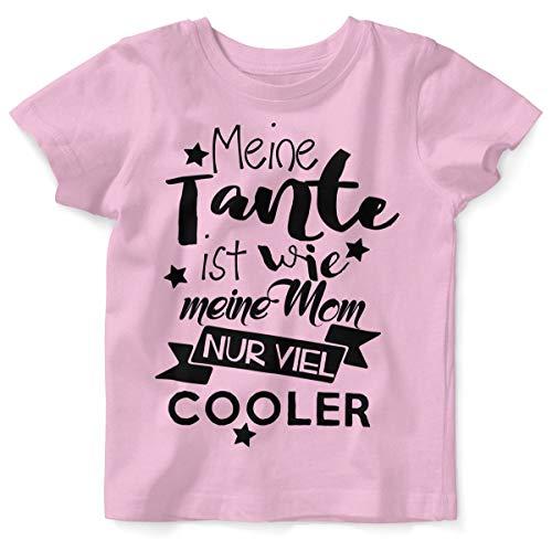 Mikalino Baby/Kinder T-Shirt mit Spruch für Jungen Mädchen Unisex Kurzarm Meine Tante ist wie Meine Mom. | handbedruckt in Deutschland |, Grösse:104, Farbe:rosa