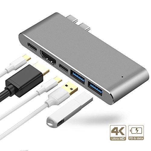 Kameta USB-C Hub MacBook Pro Hub Thunderbolt 3 Dock Aluminium Plug&Play Geeignet für neuste MacBook Pro 2016 2017 mit Thunderbolt 3 Port, USB-C Schnittstelle, 4K HDMI Anschluss und 2 USB 3.0 Ports