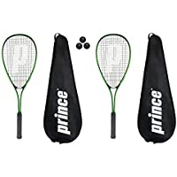 Prince 2 x Power PL150 Squash Rackets + 3 Squash Balls and Covers