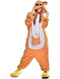 Pijamas Adultos Animales-Disfraz Anime Cosplay Ropa de Dormir Franela Traje Unisex Homewear M Naranja