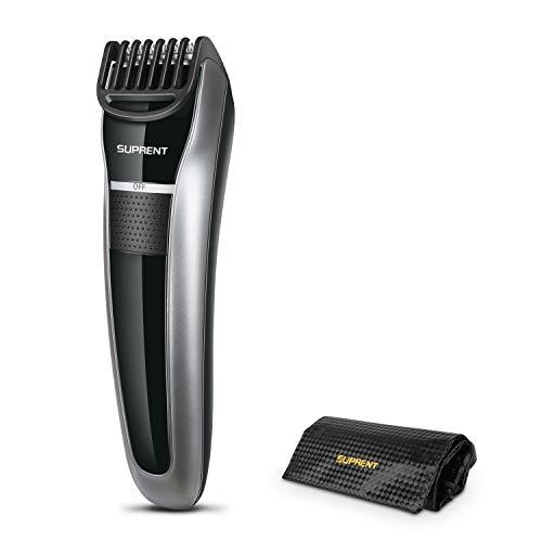 SUPRENT Bartschneider,Bart Trimmer Herren, Body Groomer mit Sicherheitsverschluss und 7 eingebaute einstellbare Längen, tragbare Reisetasche und USB-Ladegerät