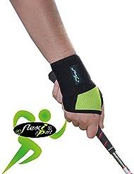 Spécial GOLF Protège poignet et pouce. ANTI-TRANSPIRANT, HYPOALLERGÉNIQUE. Renforce les poignets des golfeurs et soulage les douleurs. SANS NEOPRENE-SANS LATEX. 4DflexiSPORT