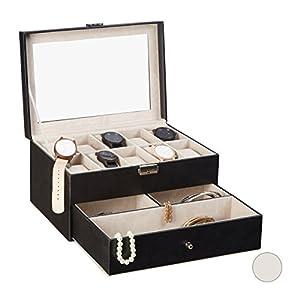 Relaxdays Uhrenbox f. 10 Uhren, abschließbarer Kunstleder Uhrenkasten, Aufbewahrungsbox m. Uhrenkissen, versch. Farben