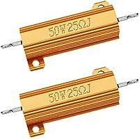FCHO 50 W 25 Ohm Resistor 5% Aluminio Tornillo Chasis Montado Chasis De Chasis De Aluminio Encabezado De Carga Bobinado Compatible Con Nest Hello Timbre De Oro, Anillo Timbre (2 unidades)