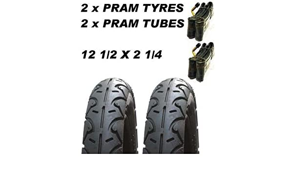 "2 x Pram Tyres /& 2 x Tubes 12 1//2 X 2 1//4/"" Huack Roadster Infinity Jeep"