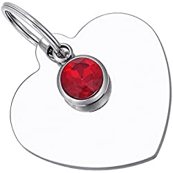 HooAMI Médaille Chien Chat Identification Coeur Cristal Gravure Personnalisé en Acier Inoxydable avec Service Gratuit de Gravure 33mmx34mm (12 Styles)