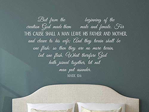 Wall Stickers Murals For This Cause Shall A Man Leave. Mark 10:6 Inspirational Christian Scripture Bible Verse Home Decor Wall Art Decal Gift (Christian-stick Decals Wall)