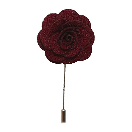 Handgefertigte Anstecknadel mit Blume / Rose, Boutonniere für das Knopfloch, Corsage, Anzug, Smoking oder Jacke Gr. onesize, burgunderfarben - Ergänzung Behandeln