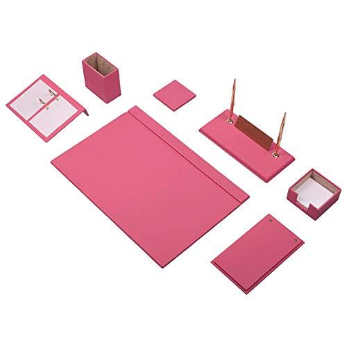 Lussodor Berro Elegante 9 parti Sottomano Scrivania Set da Alta Qualità Ecopelle con Targa Nominativa individuale 8 Selezione di Colore, Colore:Rosa