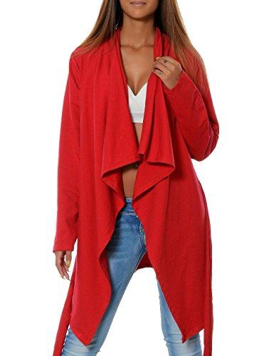 Damen Mantel Übergangs-Jacke Cardigan Gürtel (weitere Farben) 15727, Farbe:Rot, Größe:One Size