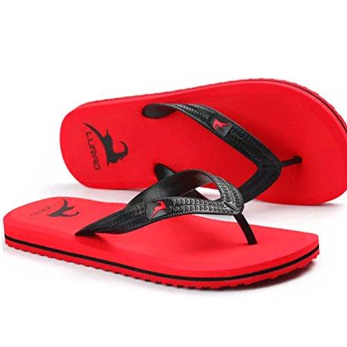 Baymate Piatto Spiaggia Infradito Uomo Antiscivolo Pantofole Casuale Sandali Rosso