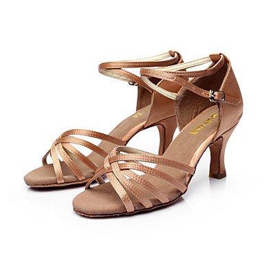 Chaussures De Danse - Disponible Sur Mesure - Femme - Latin American / Salsa - Talon Personnalisé - Satin - Noir / Marron / Argent / Or / Marron
