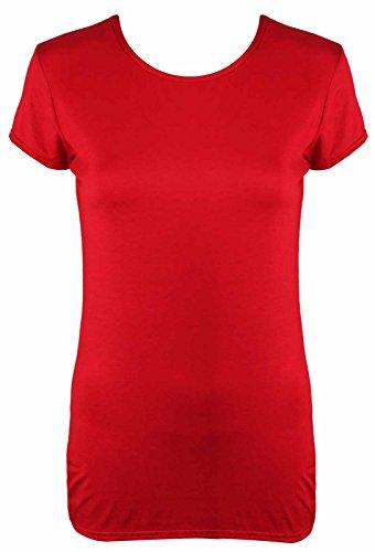 Damen Neu Schlicht Stretch Fit Rund Rundhals Top Damen Kurze Flügelärmel Einfach lässige T-Shirt Rot