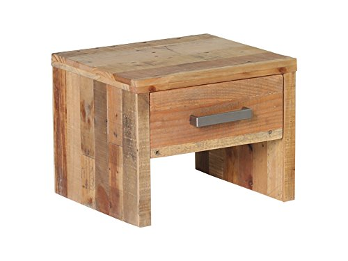 Woodkings® Nachttisch Albury natur recycelte Pinie Schlafzimmer Massivholz Beistelltisch Nachtkommode Design massive Naturmöbel Echtholzmöbel günstig