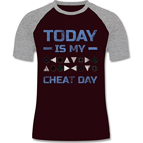 Nerds & Geeks - Today is my cheat day - zweifarbiges Baseballshirt für Männer Burgundrot/Grau meliert