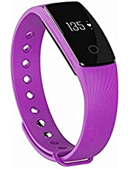 Max Explorer ID 107 Smart Bracelet with Heart Rate Monitor the Fitness Tracker ID107 Smart Wristband with Heart Rate Sensor and the Popular Q7 Smart Watch 2017 the New Product (Purple)