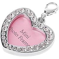 Cadania Pet ID Tag Collar Rhinestone Crystal Personalizado Cat Dog Name Charms - Corazón