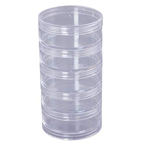 SUPVOX 5-lagige Aufbewahrungsbox Bead Aufbewahrungsbehälter Haltbarer Kunststoffzylinder Stapelbare transparente runde Aufbewahrungsbox