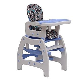 HOMCOM 3 in 1 Kinderhochstuhl Kombihochstuhl Multifunktion Babyhochstuhl mit Schaukelfunktion in verschiedenen Farben (Blau/Weiß)